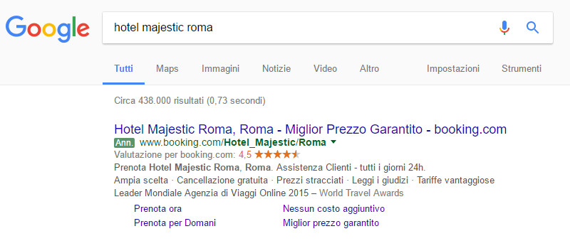 Annuncio Booking.com - Google AdWords