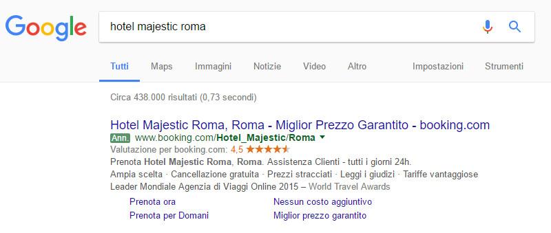 Annuncio Booking.com - Google AdWords