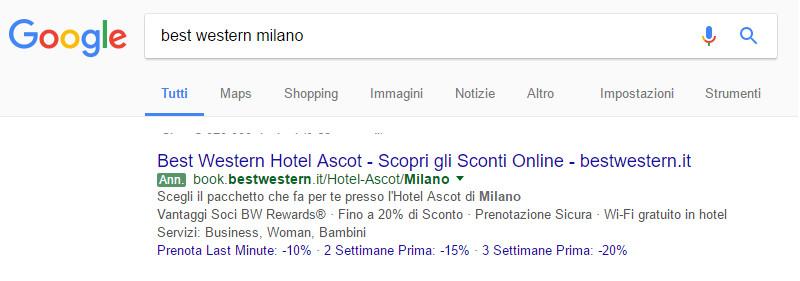Annuncio Hotel - Google AdWords
