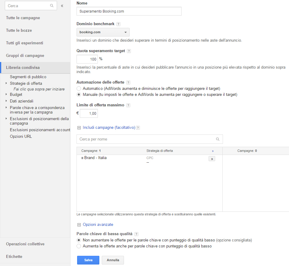 Guida Quota di Superamento Target Google AdWords Booking