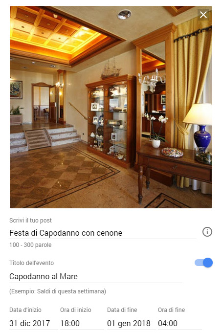 Google Posts, eventi hotel