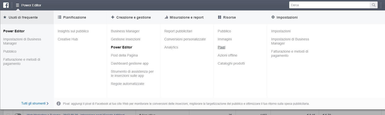 Configurazione Pixel di Facebook