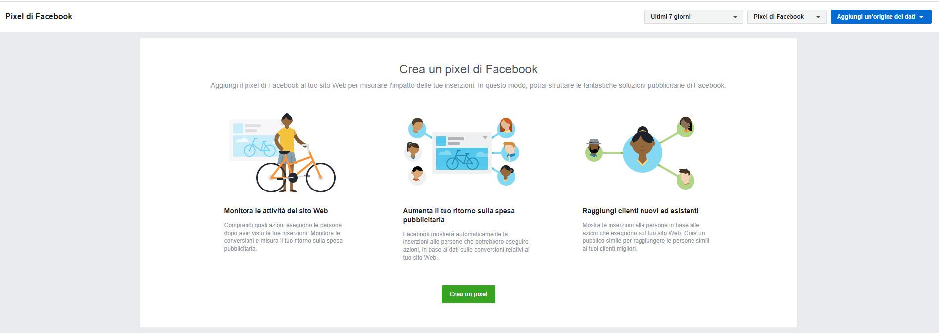 Configurazione Pixel di Facebook - Crea un pixel