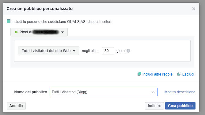 Configurazione Pixel di Facebook - Pubblico personalizzato