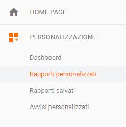 Rapporti personalizzati Google Analytics