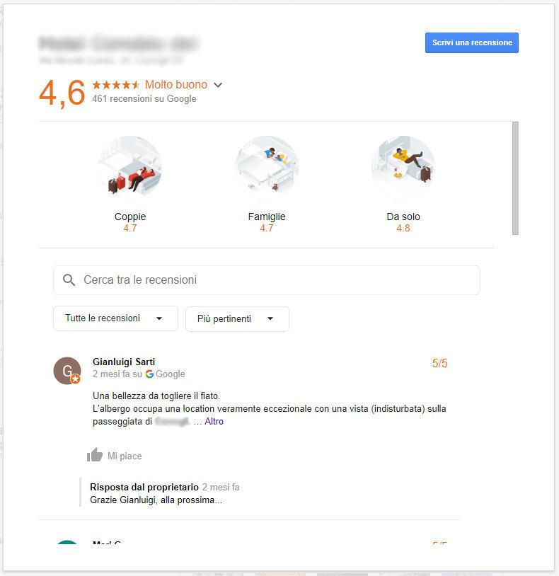 Recensioni Google filtrate per tipologia