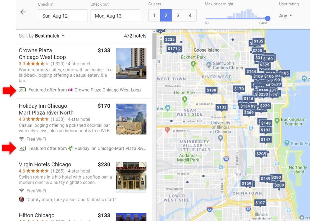 Anteprima Google Promoted Hotels