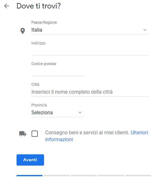 Scheda Google My Business nuova