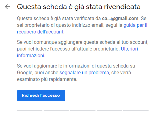 Scheda Google My Business rivendicata