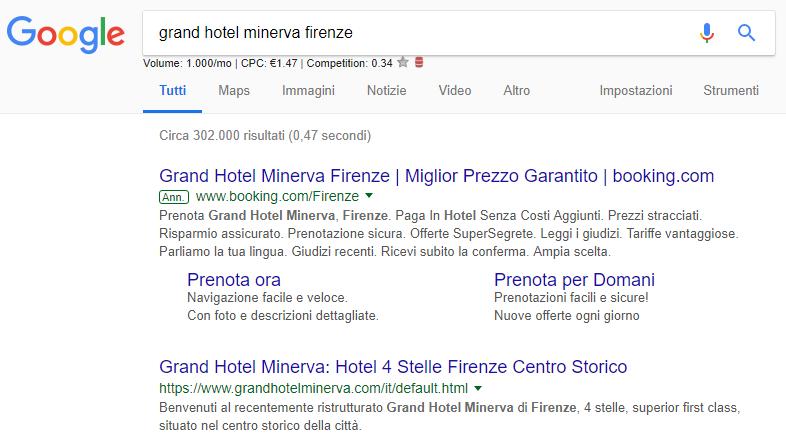 Esempio annuncio su Google di Booking.com
