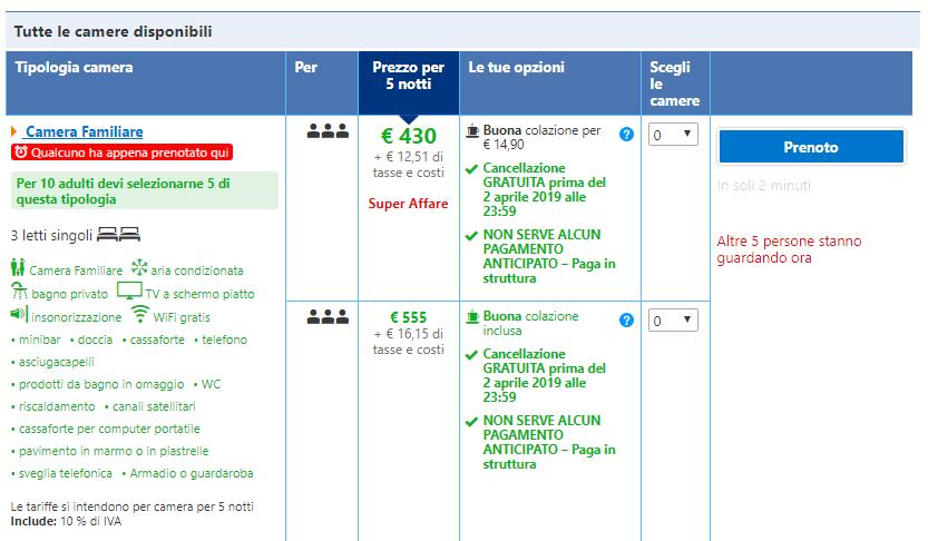Booking.com messaggi rassicuranti