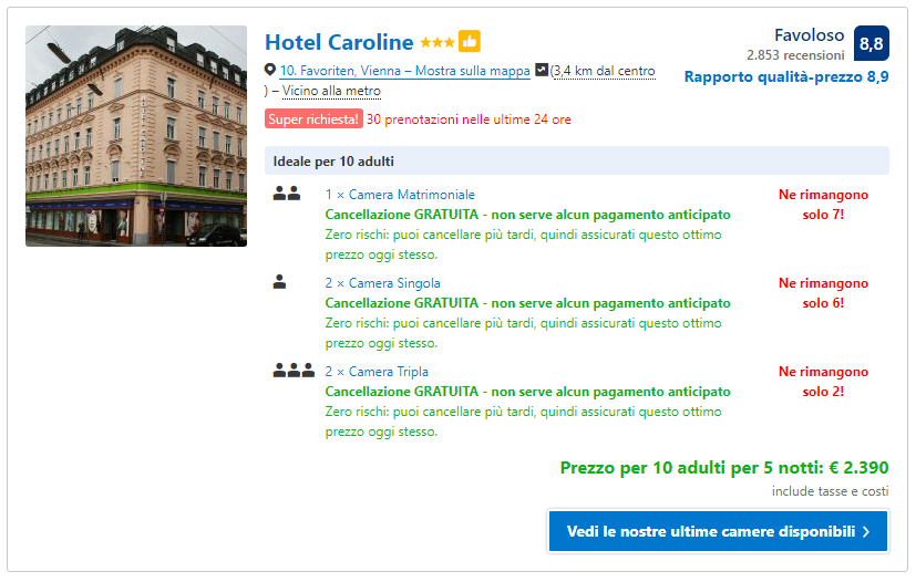 Messaggi di marketing persuasivo di Booking.com