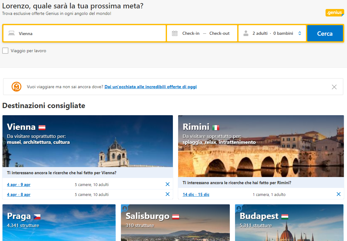 Home page dinamica di Booking.com