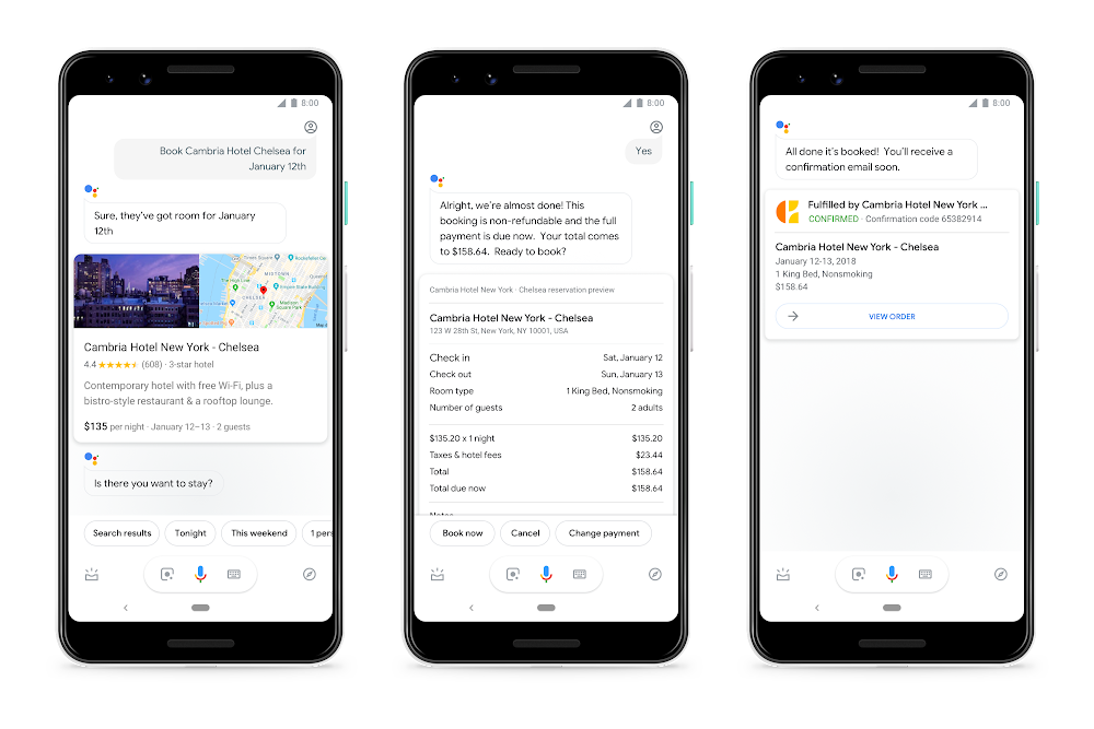 Google Assistant, prenotazioni vocali