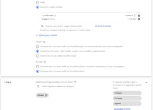 Impostazione località e lingua Campagna Google Ads