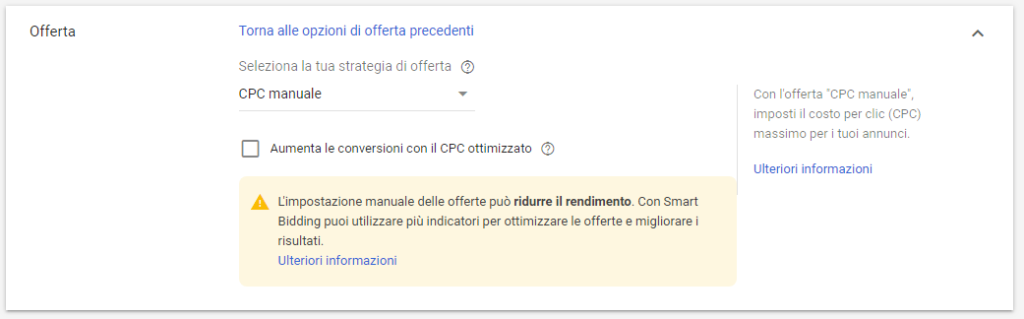 Strategia di offerta Campagna Google Ads
