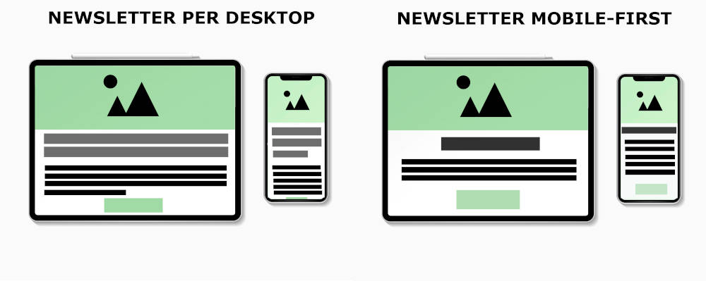 Design newsletter mobile first e desktop first a confronto