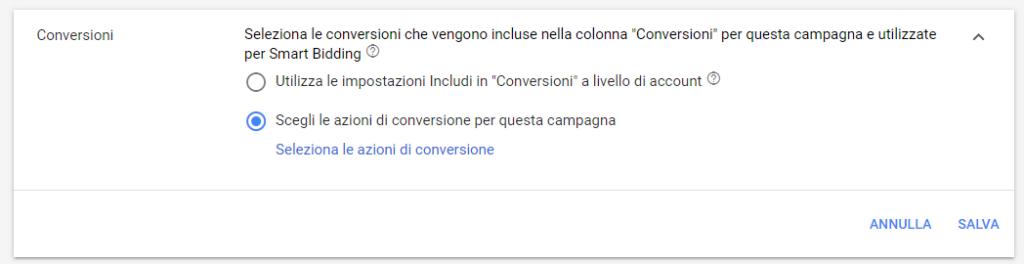 Selezione delle azioni di conversione per una campagna