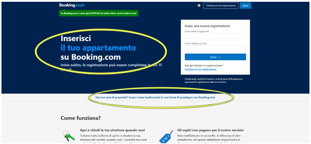Booking.com registra nuova struttura